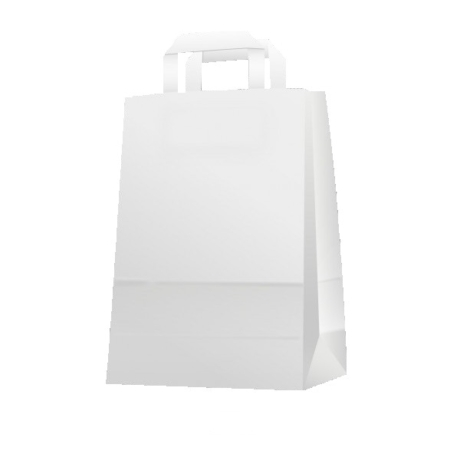 Papírtáska szalag füllel fehér (32x43x17)